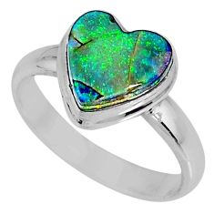 3.80cts multi color sterling opal heart silver solitaire ring size 8.5 r62145