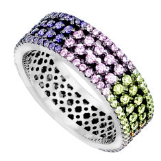 Gemstones infinity band 925 sterling silver eternity ring size 6.5 c23543