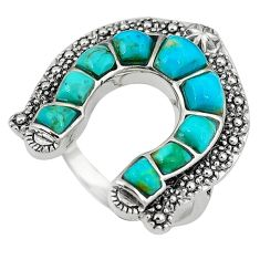 4.49cts multicolor copper turquoise 925 sterling silver ring size 7.5 c11034