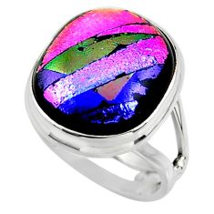 9.76cts multicolor dichroic glass 925 sterling silver ring jewelry size 6 r46024