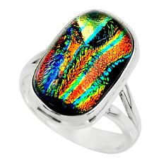 6.26cts multicolor dichroic glass 925 sterling silver ring jewelry size 6 r46034