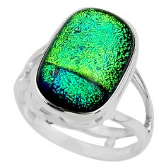 9.06cts multicolor dichroic glass 925 sterling silver ring jewelry size 7 r46009