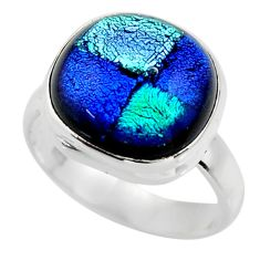 8.11cts multicolor dichroic glass 925 sterling silver ring jewelry size 7 r46012