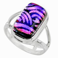 6.53cts multicolor dichroic glass 925 sterling silver ring jewelry size 7 r46025