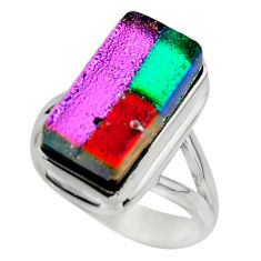 8.09cts multicolor dichroic glass 925 sterling silver ring jewelry size 7 r46035