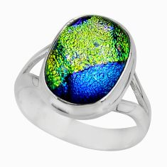 5.35cts multicolor dichroic glass 925 sterling silver ring jewelry size 7 r46041