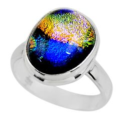 7.89cts multicolor dichroic glass 925 sterling silver ring jewelry size 8 r46002