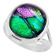 7.62cts multicolor dichroic glass 925 sterling silver ring jewelry size 8 r46003