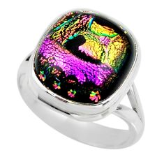 9.96cts multicolor dichroic glass 925 sterling silver ring jewelry size 8 r46013