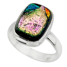6.79cts multicolor dichroic glass 925 sterling silver ring jewelry size 8 r46032