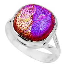 9.88cts multicolor dichroic glass 925 sterling silver ring jewelry size 8 r46059