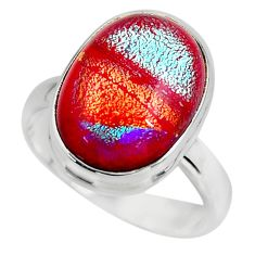 9.59cts multicolor dichroic glass 925 sterling silver ring jewelry size 8 r46060