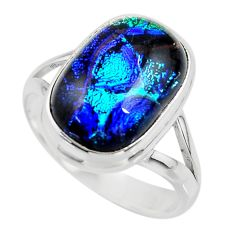 7.46cts multicolor dichroic glass 925 sterling silver ring jewelry size 9 r46037