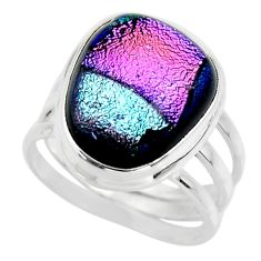 10.95cts multicolor dichroic glass 925 sterling silver ring size 7.5 r46006