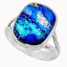 10.75cts multicolor dichroic glass 925 sterling silver ring size 7.5 r46023