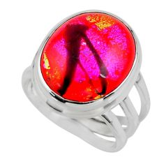 11.82cts multicolor dichroic glass 925 sterling silver ring size 5.5 r46028