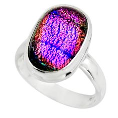 6.62cts multicolor dichroic glass 925 sterling silver ring size 7.5 r46029