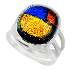 9.66cts multicolor dichroic glass 925 sterling silver ring size 6.5 r46038