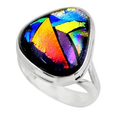 13.30cts multicolor dichroic glass 925 sterling silver ring size 7.5 r46043