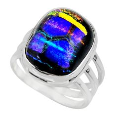 10.57cts multicolor dichroic glass 925 sterling silver ring size 6.5 r46047