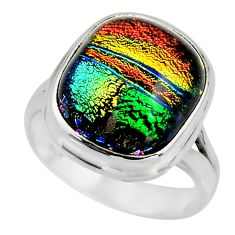 7.11cts multicolor dichroic glass 925 sterling silver ring size 6.5 r46051
