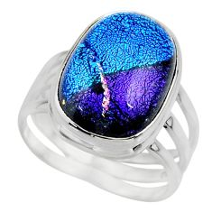 10.38cts multicolor dichroic glass 925 sterling silver ring size 7.5 r46052