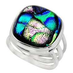 13.07cts multicolor dichroic glass 925 sterling silver ring size 7.5 r46053