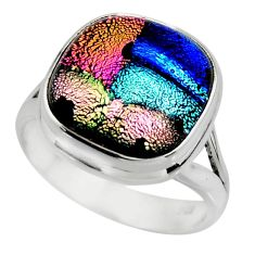 10.70cts multicolor dichroic glass 925 sterling silver ring size 7.5 r46054