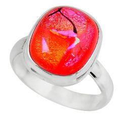 9.02cts multicolor dichroic glass 925 sterling silver ring size 9.5 r46057