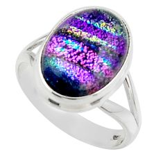 9.83cts multicolor dichroic glass 925 sterling silver ring size 8.5 r46718