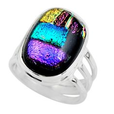 10.95cts multicolor dichroic glass 925 sterling silver ring size 6 r46017