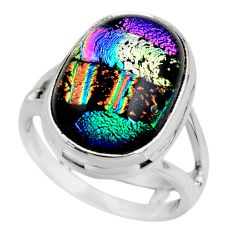 10.05cts multicolor dichroic glass 925 sterling silver ring size 6 r46022