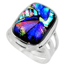 12.13cts multicolor dichroic glass 925 sterling silver ring size 6 r46030