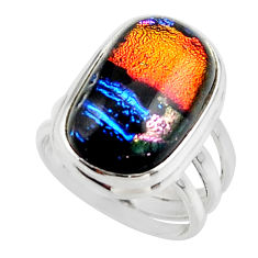 12.52cts multicolor dichroic glass 925 sterling silver ring size 6 r46717