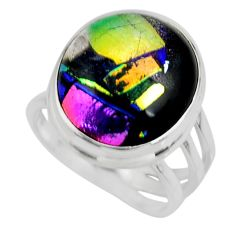 13.47cts multicolor dichroic glass 925 sterling silver ring size 7 r46027