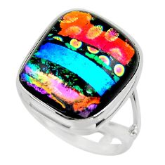 11.86cts multicolor dichroic glass 925 sterling silver ring size 7 r46036