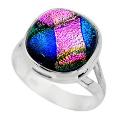 10.37cts multicolor dichroic glass 925 sterling silver ring size 7 r46049