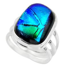 10.33cts multicolor dichroic glass 925 sterling silver ring size 7 r46055