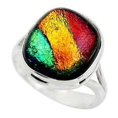 10.35cts multicolor dichroic glass 925 sterling silver ring size 8 r46031