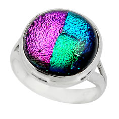 12.01cts multicolor dichroic glass 925 sterling silver ring size 8 r46044