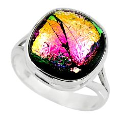 10.60cts multicolor dichroic glass 925 sterling silver ring size 8 r46056