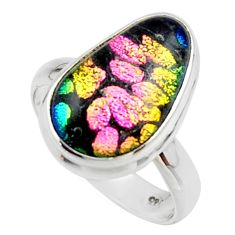 13.15cts multicolor dichroic glass 925 sterling silver ring size 8 r46703