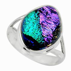 11.15cts multicolor dichroic glass 925 sterling silver ring size 9 r46026