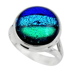 12.48cts multicolor dichroic glass 925 sterling silver ring size 9 r46039