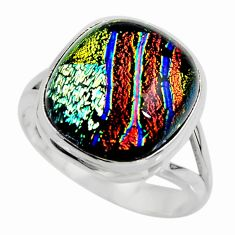 11.55cts multicolor dichroic glass 925 sterling silver ring size 9 r46040