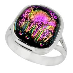 10.35cts multicolor dichroic glass 925 sterling silver ring size 9 r46042