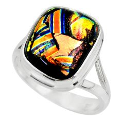10.34cts multicolor dichroic glass 925 sterling silver ring size 9 r46045