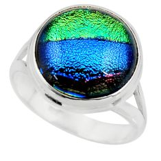 10.94cts multicolor dichroic glass 925 sterling silver ring size 9 r46046
