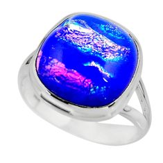 11.32cts multicolor dichroic glass 925 sterling silver ring size 9 r46048