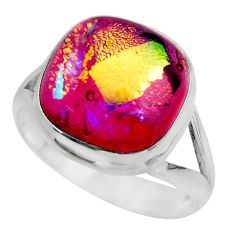 10.33cts multicolor dichroic glass 925 sterling silver ring size 9 r46058